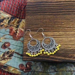 Bohemian Yellow Dangling Chandelier Earrings NWT